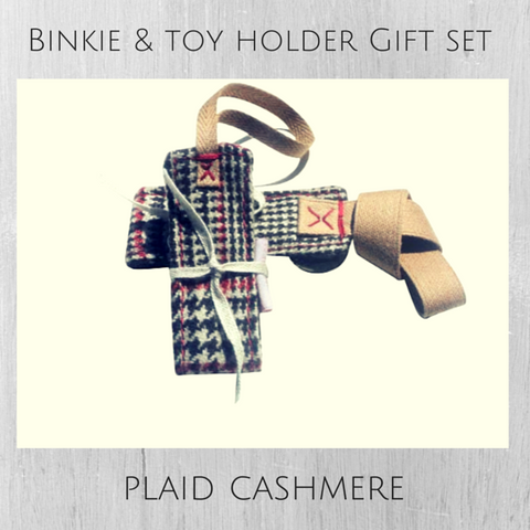 Holiday Plaid Cashmere Binkie & Toy Holder Gift Set