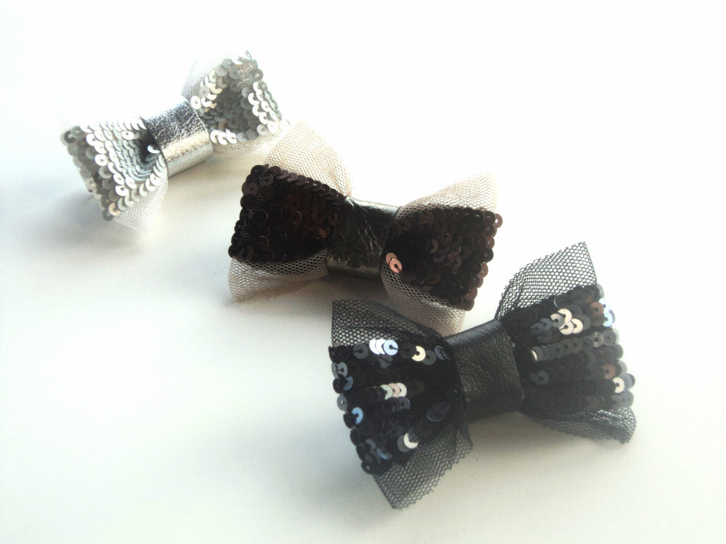 Sequin & Leather Luxe Bow