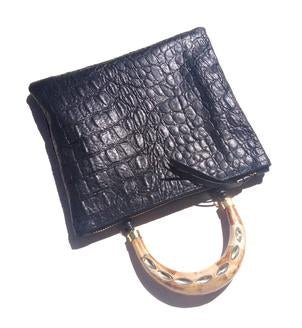 Bone Handle Black Alligator Handbag
