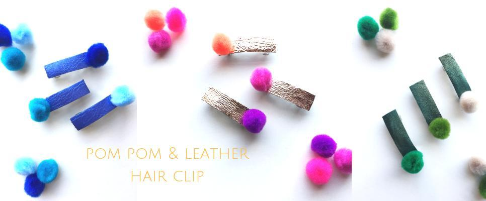New! Pom Pom & Leather French Barrette Hair Bow