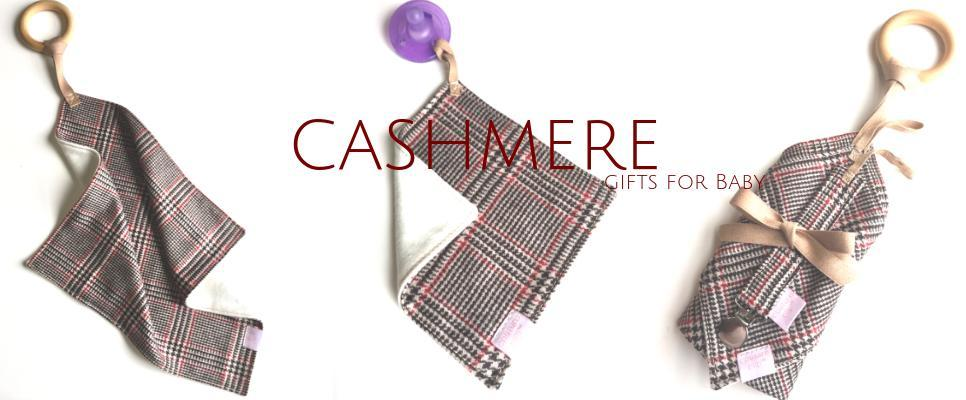 Holiday plaid cashmere gifts for baby pacifier Clips & Teether Blanket For Baby