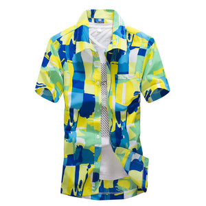 Plus Size 4XL Summer Surf Shirt Men's Pattern Cotton Flax Short Sleeve Shirt Vibrant Hawaii Swimming Sun Protection Beach Shirt - Brixtee