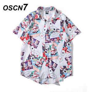 OSCN7 Casual Cloud Printed Short Sleeve Shirt Men Street 2020 Hawaii Beach Oversize Women Fashion Harujuku Shirts for Men 2023 - Brixtee