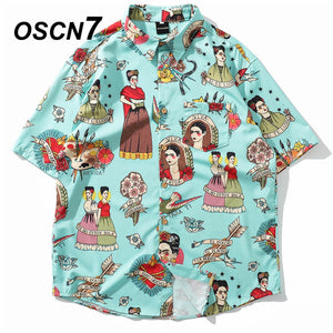 OSCN7 2019 Casual Plaid Short Sleeve Shirt Men Street 2019 Hawaii Beach Women Adjustable Hem Short Sleeve Shirts Mens 3106 - Brixtee