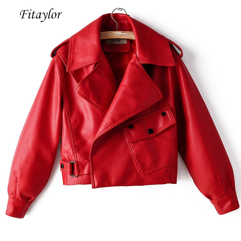 Fitaylor New Autumn Women Faux Leather Jacket Pu Motorcycle Biker Red Coat Turndown Collar Loose Streetwear Black Punk Outerwear - Brixtee