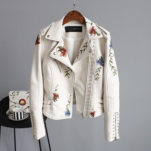 Ftlzz Women Floral Print Embroidery Faux Soft Leather Jacket Coat  Turn-down Collar Casual Pu Motorcycle Black Punk Outerwear - Brixtee