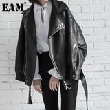 [EAM] High Quality 2020 Spring Black PU Leather Loose Turn-down Collar Zipper Fashion New Women's Wild Jacket LA938 - Brixtee