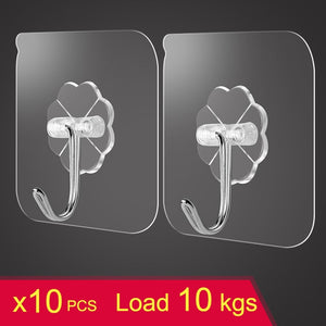 transparent strong suction hooks for home Kitchen and Bathroom cup sucker hanger key holder Storage Hangers - Brixtee