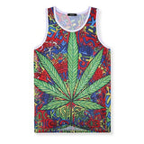 Men's Sports Vest Travel Hawaii Mesh Print Maple Leaf Sports Running Male Breathable Comfortable Vest T-shirts Summer Beach - Brixtee
