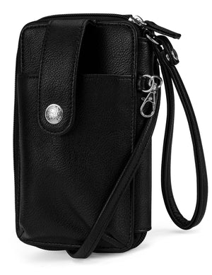 Jacqui Crossbody Cell Phone Wallet - Mundi Wallets - Women's Wallet - Wristlet - Crossbody Bag - Key Chain - All Black - RFID protected Organizer Wallet