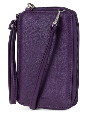 Jacqui Crossbody Cell Phone Wallet - Mundi Wallets - Women's Wallet - Wristlet - Crossbody Bag - Key Chain - Purple - RFID protected Organizer Wallet