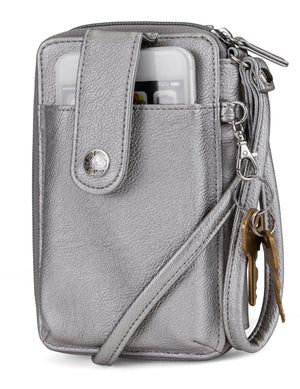 Jacqui Crossbody Cell Phone Wallet - Mundi Wallets - Women's Wallet - Wristlet - Crossbody Bag - Key Chain - Pewter Silver - RFID protected Organizer Wallet