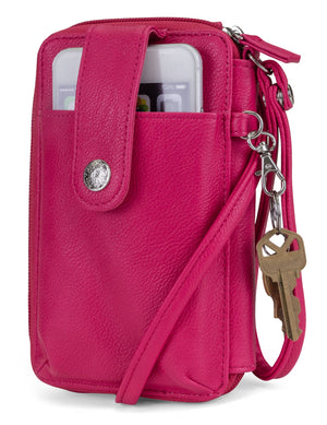 Jacqui Crossbody Cell Phone Wallet - Mundi Wallets - Women's Wallet - Wristlet - Crossbody Bag - Key Chain - Pink - RFID protected Organizer Wallet
