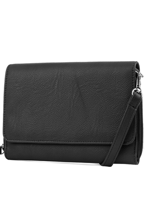 Katie RFID Protected Women's Crossbody Bag  - Black - Organizer Wallet