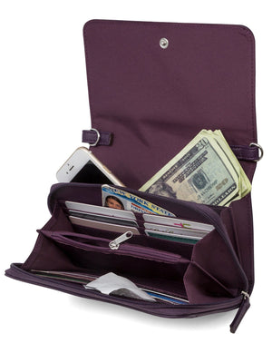 Katie RFID Protected Women's Crossbody Bag  - Purple - Organizer Wallet