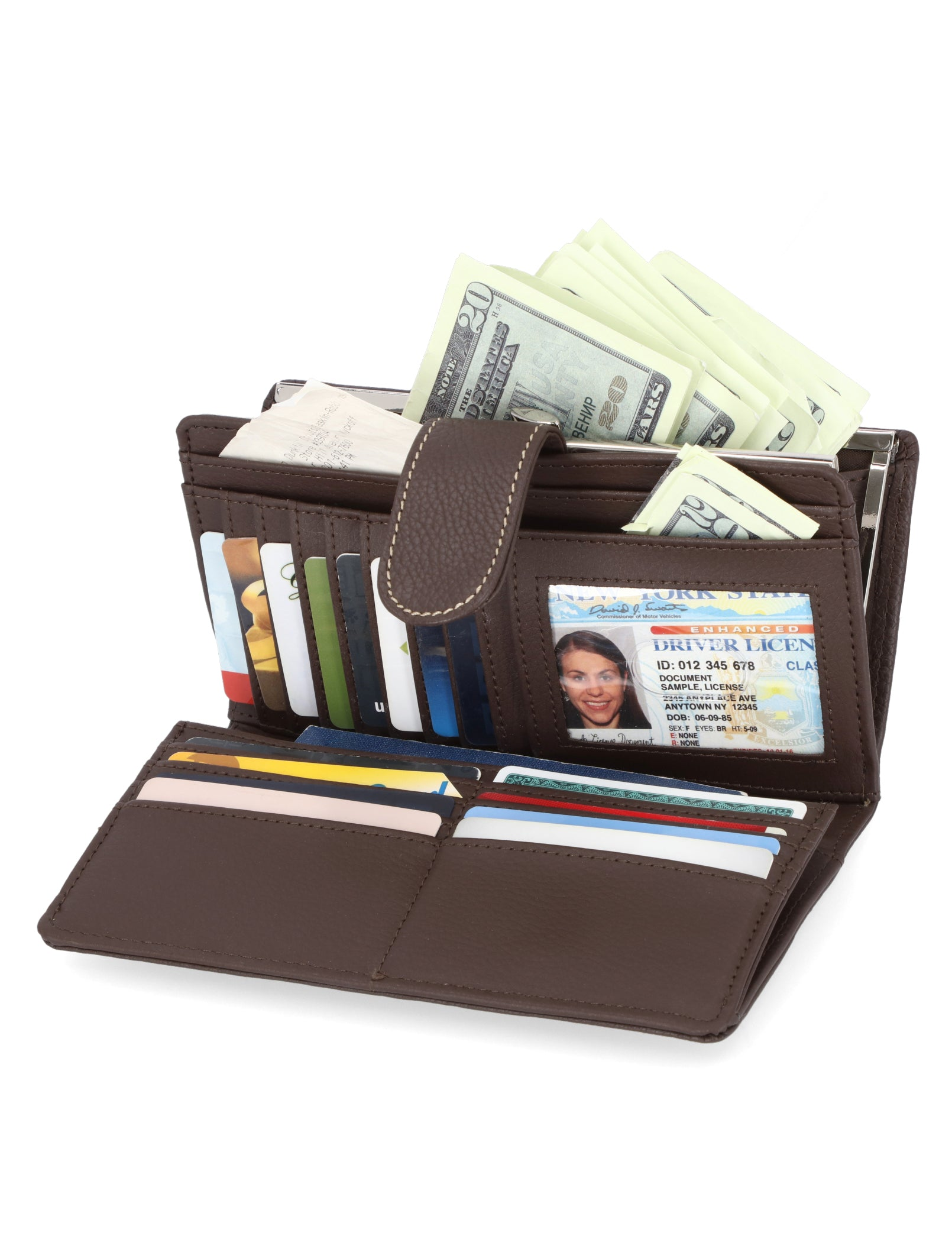 Mundi Wallets - Rio Checkbook Clutch - Women's Wallets - Genuine Leather Wallets For Women - RFID Protection - Organizer Wallets - Multiple Pockets and compartments - Brown