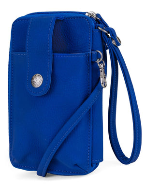 Jacqui Crossbody Cell Phone Wallet - Mundi Wallets - Women's Wallet - Wristlet - Crossbody Bag - Key Chain - Azul - RFID protected Organizer Wallet