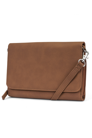 Katie RFID Protected Women's Crossbody Bag  - Organizer Wallet - Brown Sugar