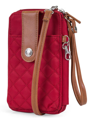 Jacqui Crossbody Cell Phone Wallet - Mundi Wallets - Women's Wallet - Wristlet - Crossbody Bag - Key Chain - Red - RFID protected Organizer Wallet