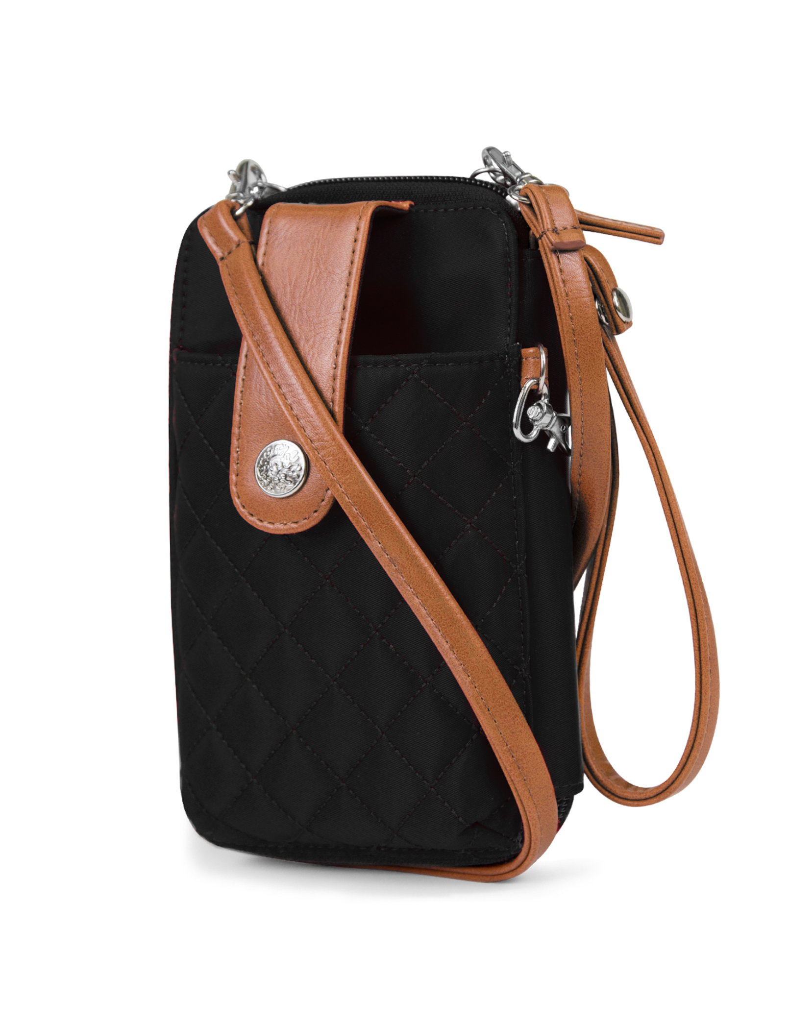 Jacqui Crossbody Cell Phone Wallet - Mundi Wallets - Women's Wallet - Wristlet - Crossbody Bag - Key Chain - Black Brown - RFID protected Organizer Wallet