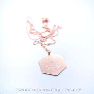 He/Him Pronoun Necklace - Twilight Meadow Creations