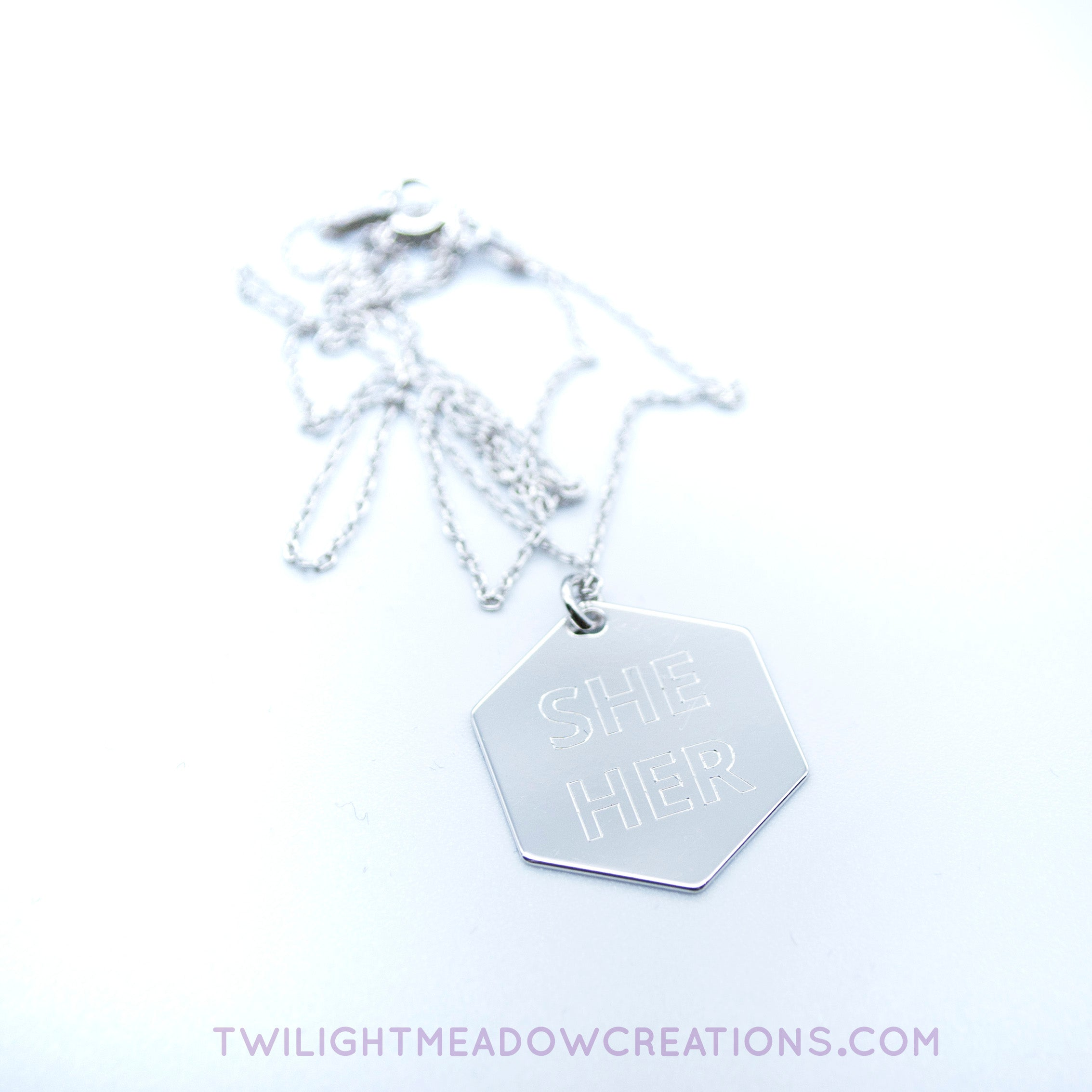 She/Her Pronoun Necklace - Twilight Meadow Creations