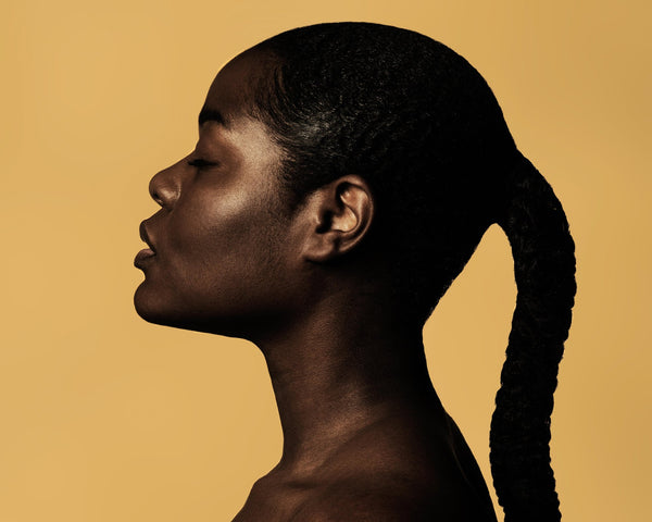 Dark-skinned Woman with Closed Eyes