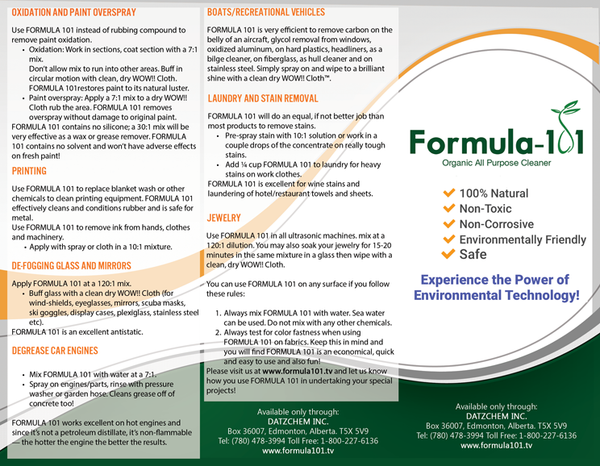 Formula 101 Directions and Uses Brochure Front