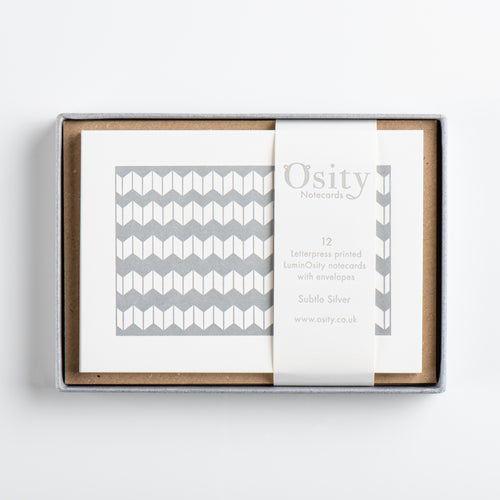 12 LuminOsity Letterpress Notecards, Subtle Silver