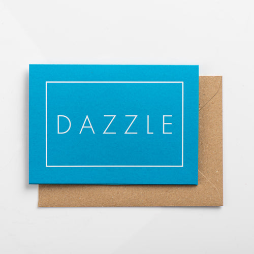 Dazzle Card, White on Swimming Pool Blue