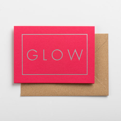 Glow Card, Silver on Hot Pink