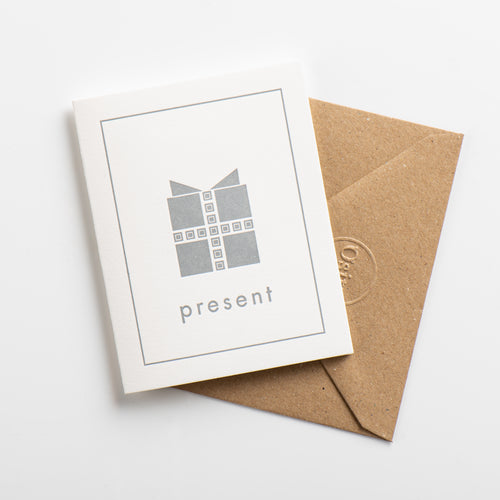 Present Small Card, Subtle Silver