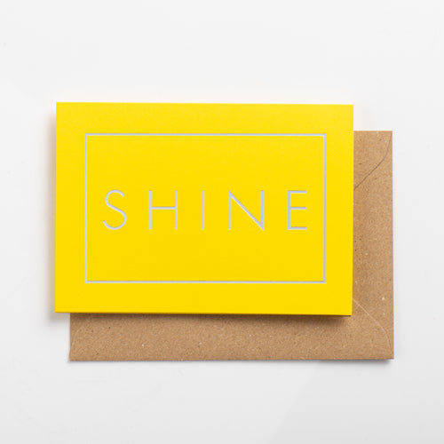 Shine Card, Silver on Luminous Yellow