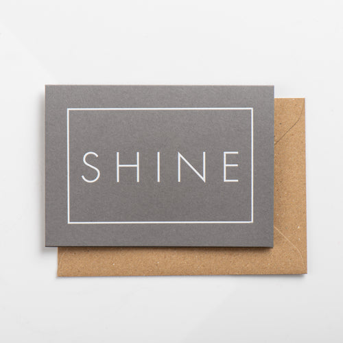 Shine Card, White on Subtle Silver