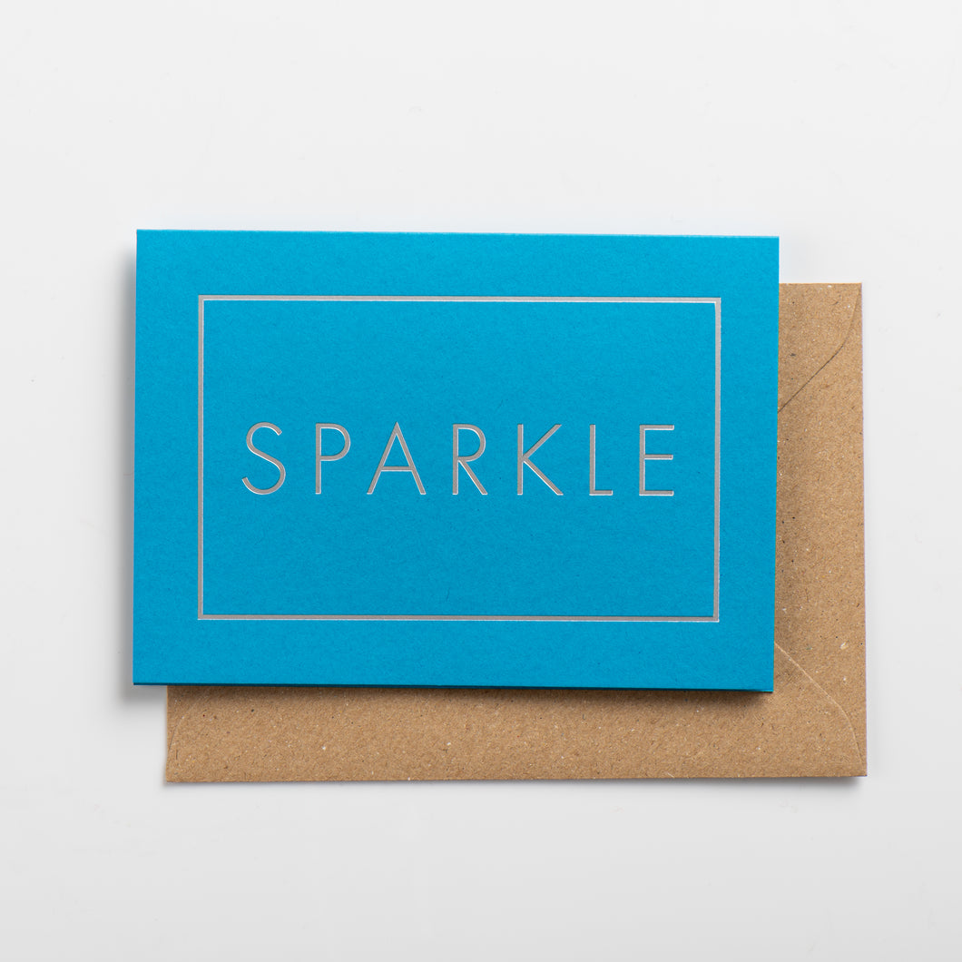 Sparkle Card, Silver on Swimming Pool Blue