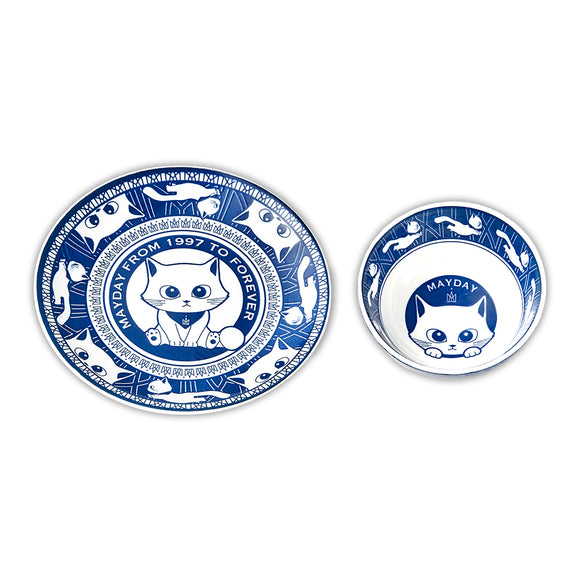 Mayday Cat Bowl and Plate Set