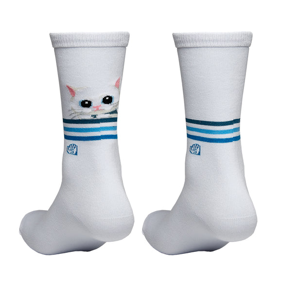 Mayday Just Rock It BLUE Sock - Cat (White)