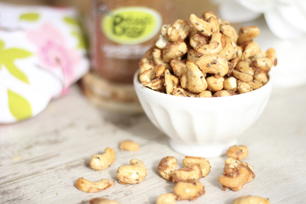 Homemade honey roasted cashews coated with Betsy's Best award winning almond butter