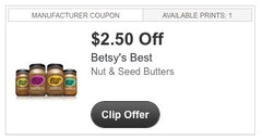 A COUPON FOR BETSY;S BEST GOURMET NUT AND SEED BUTTERS