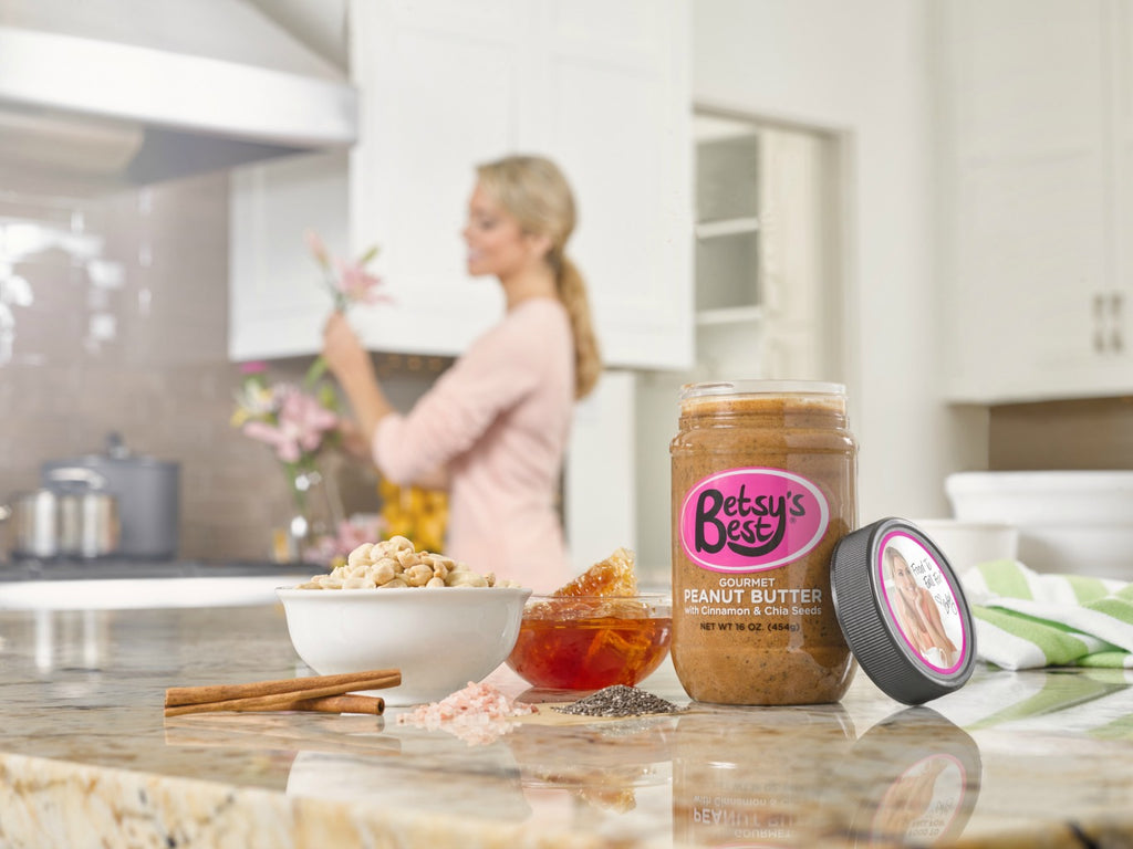 Betsy's Best Gourmet Peanut Butter with cinnamon, chia seeds, organic honey, and Himalayan pink salt