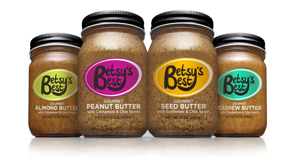 Betsy's Best Gourmet Nut and Seed Butter jars