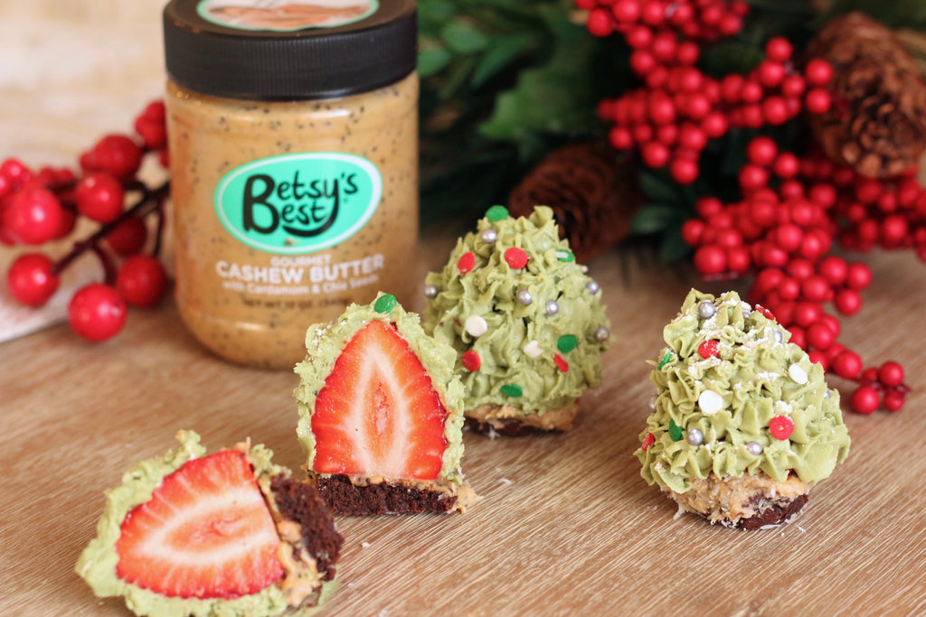 Christmas tree shaped cashew butter and strawberry treats