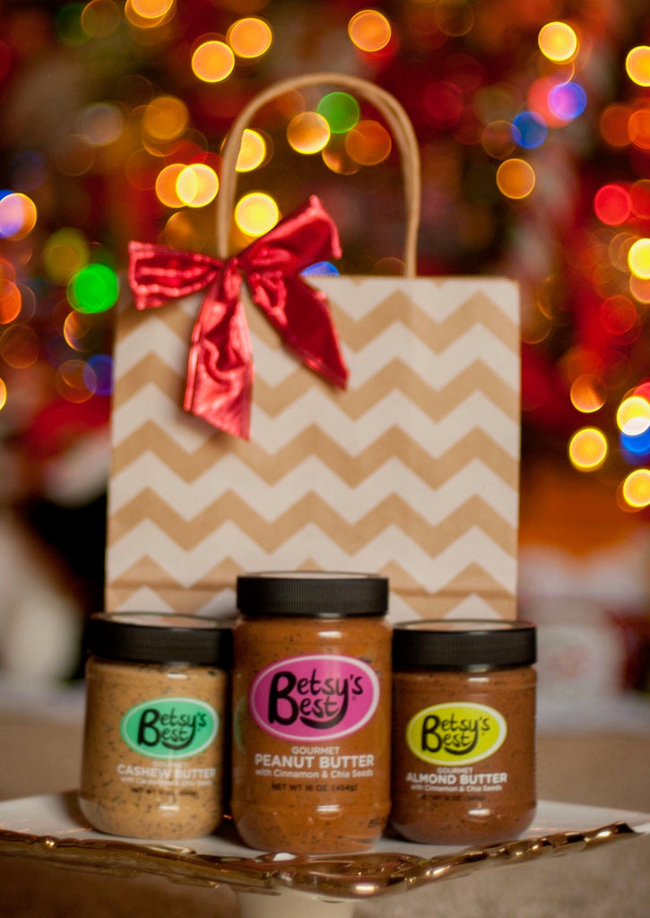 Healthy Holiday Gift Ideas include Betsy's Best Gourmet Nut and Seed Butters