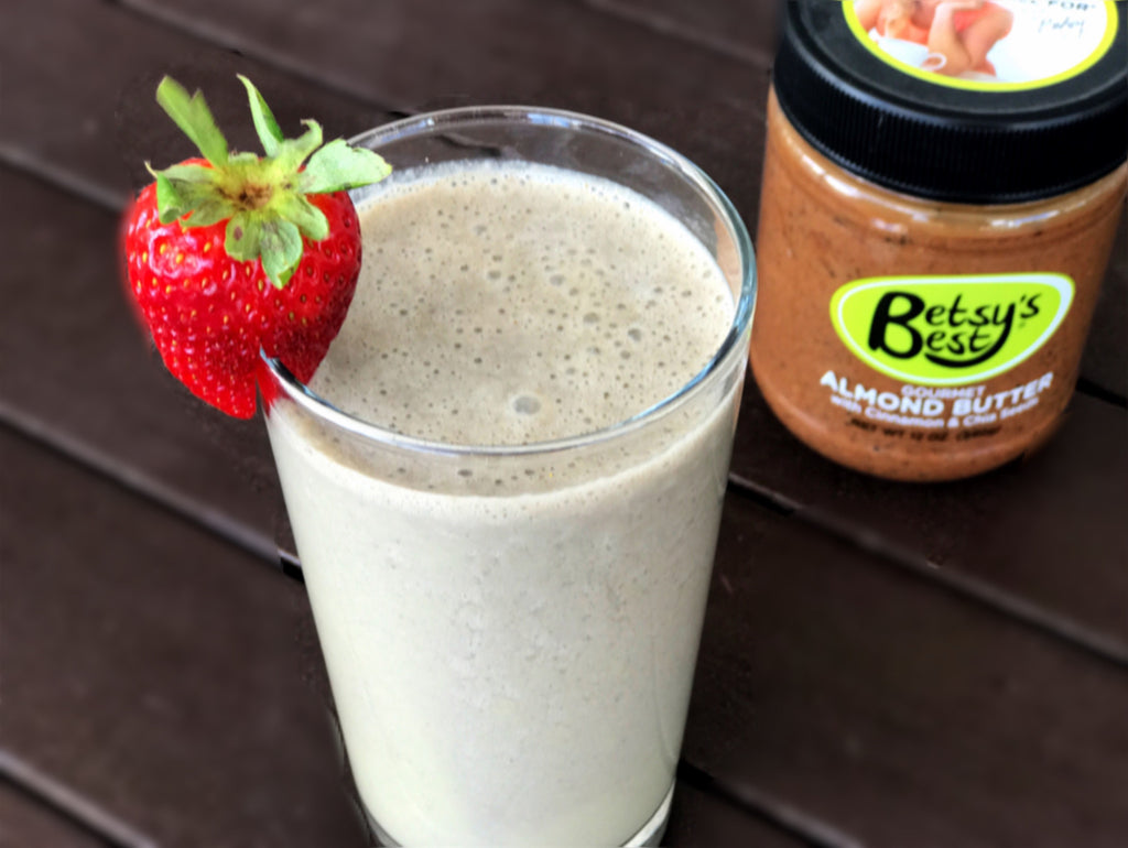 A sweet green smoothie featuring Betsy's Best Gourmet Almond Butter