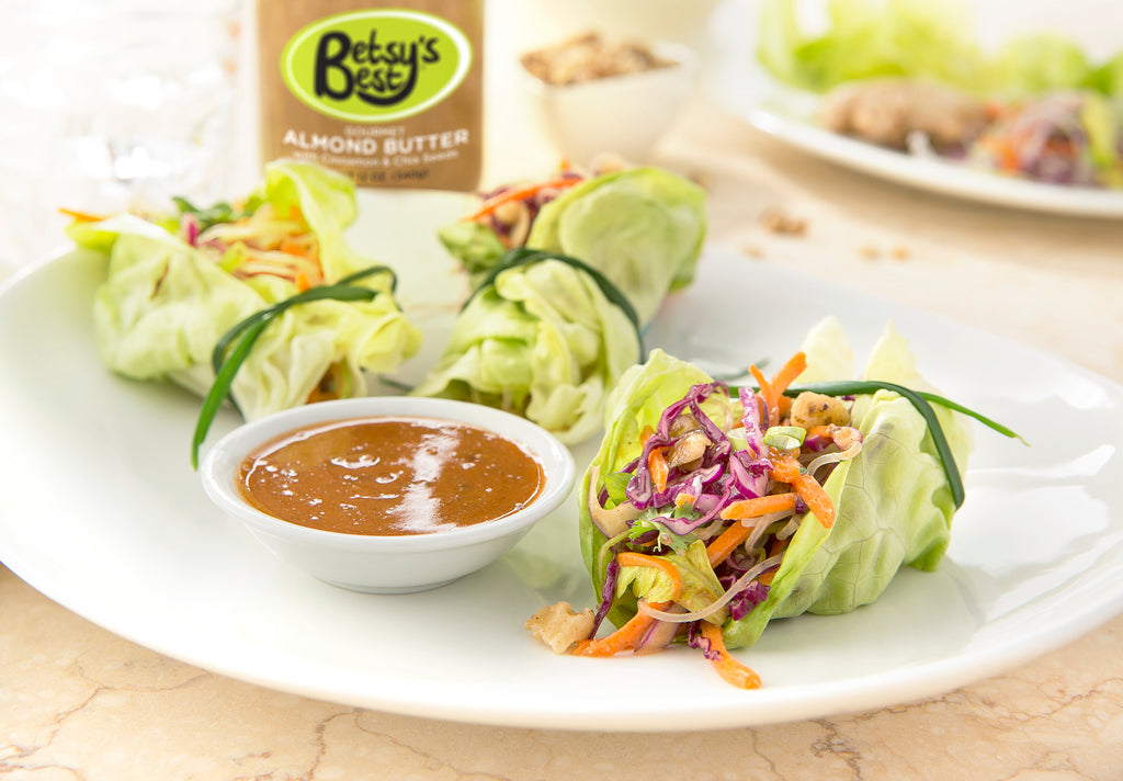 A recipe for Thai Lettuce Cups featuring Betsy's Best Almond Butter