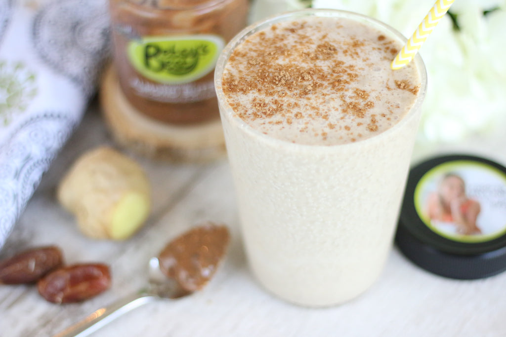 An almond butter banana chia seed smoothie recipe
