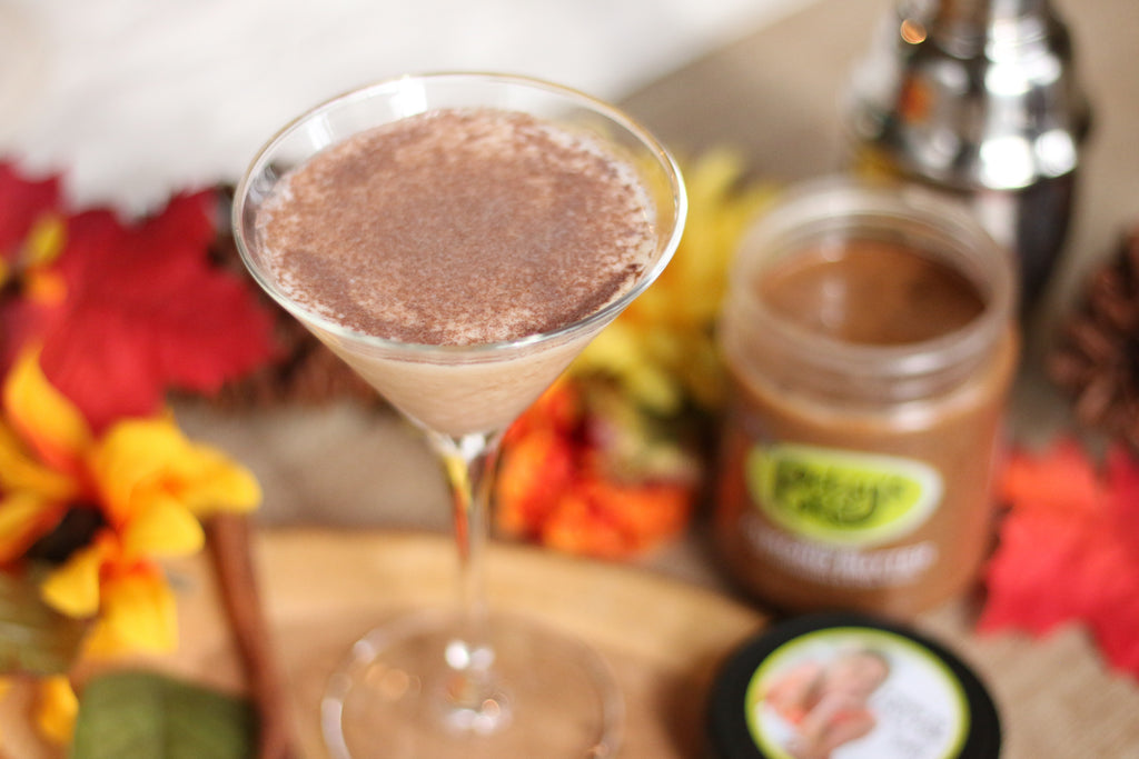 a pumpkin pie spiced martini featuring Betsy's Best Gourmet Almond Butter