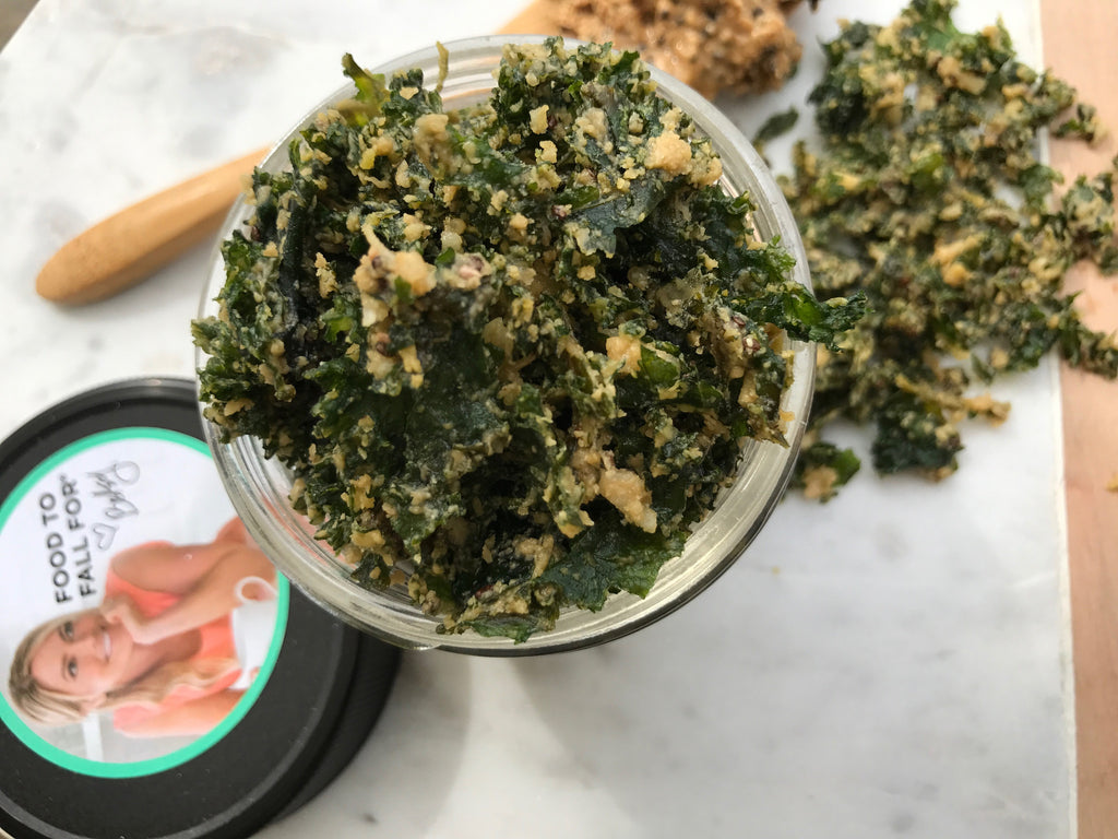 Cashew Butter Coated Kale Chips Recipe from Betsy's Best