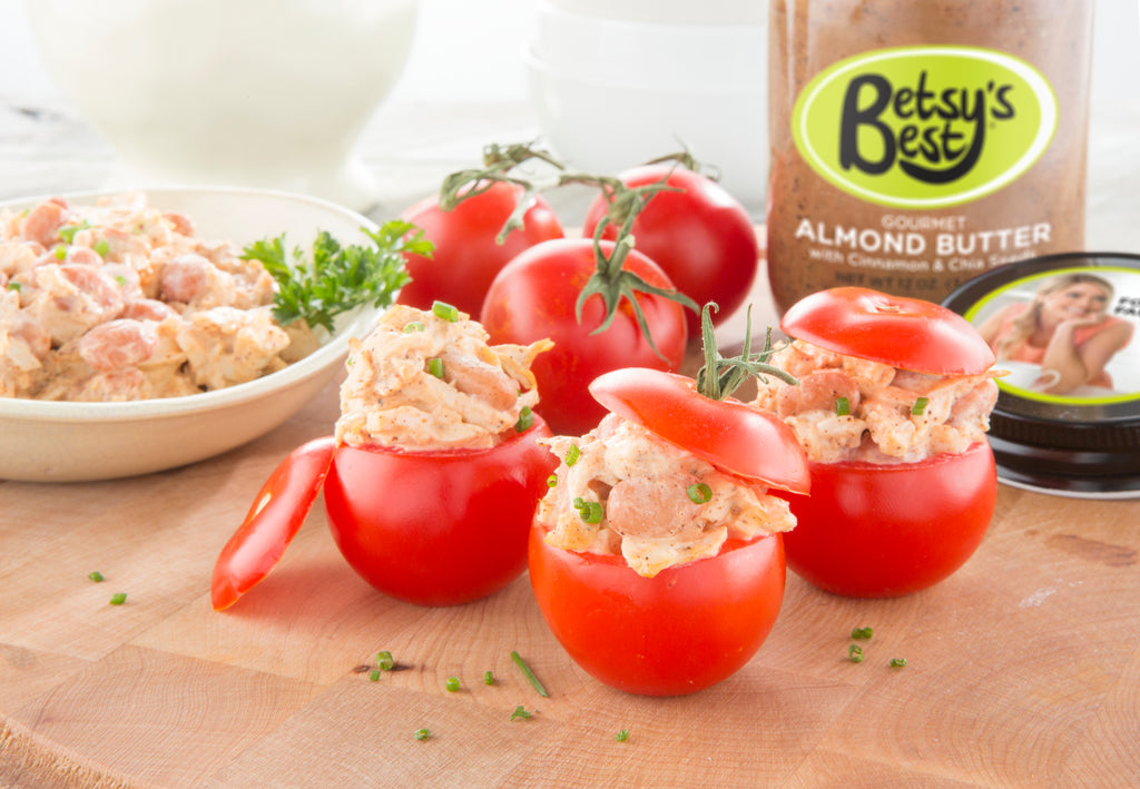Chicken salad stuffed tomato recipe from Betsy's Best