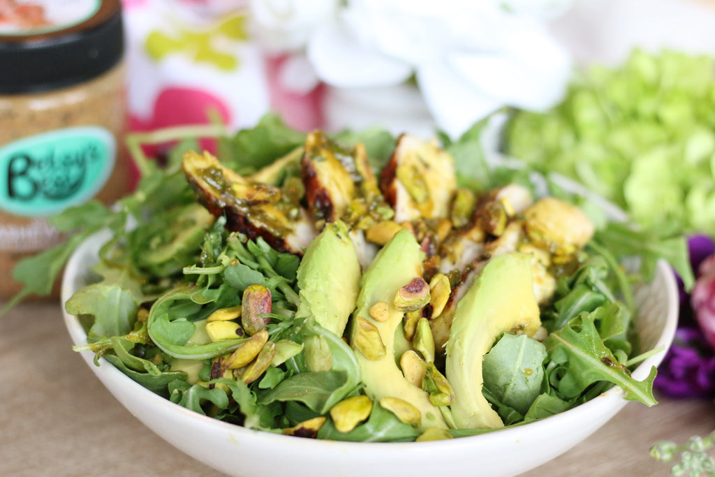 grilled chicken chimichurri salad featuring Betsy's Best Cashew Butter